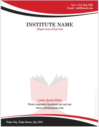 High School Letterhead Template