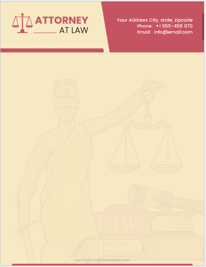 Attorney at Law Letterhead Sample