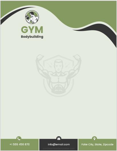Gym Business Letterhead Template