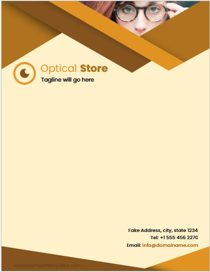 Optical Store Letterhead Template