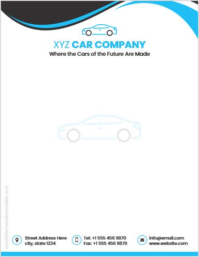 Car company letterhead template